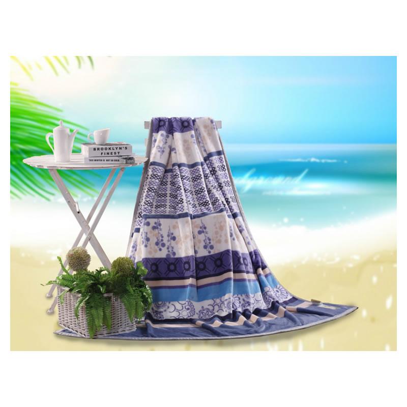 水星家纺精品印花珊瑚绒毯-清雅 180*200cm