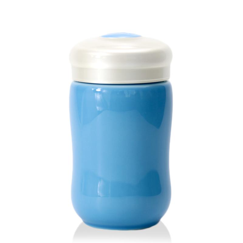乾唐轩 活瓷小快乐曲线单层随身杯 海碧-白盖 330ML