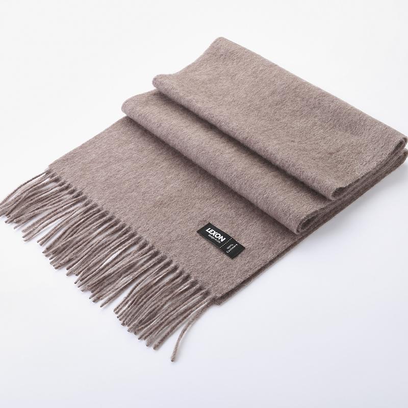 乐上Cashmere克什米尔100%纯羊绒围巾(男款)LT2001S07M虾色