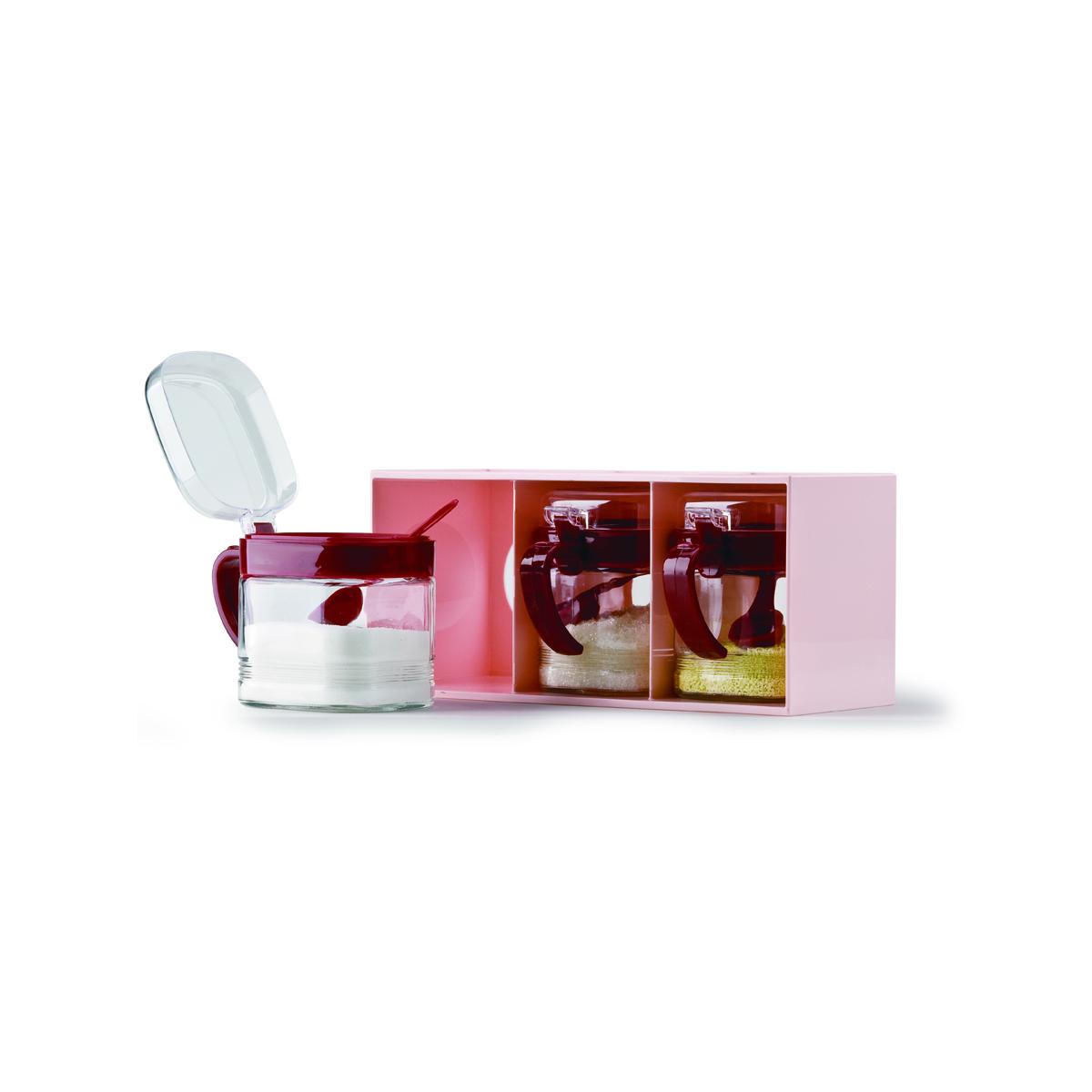 多样屋 PASSION玻璃三抽调味盒 TA110401007ZZ 红色