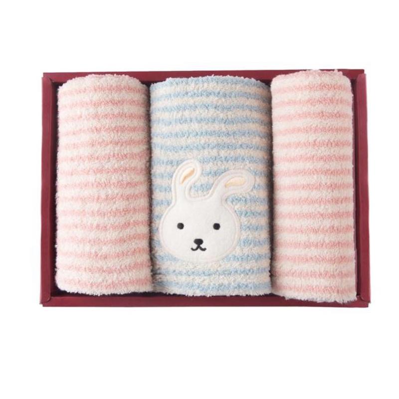 多样屋 可爱兔2方1面巾礼盒 TA070102012ZZ 粉蓝