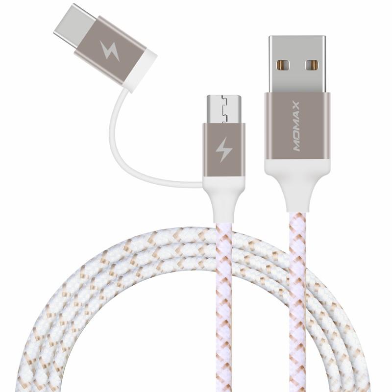 摩米士 编织2合1数据线(USB A to USB C and Micro -1m)DTC11