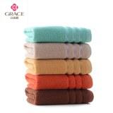 洁丽雅 纯棉简欧毛巾(5条装)7137 绿+桔+灰+棕+驼