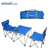 维仕蓝 双人折叠桌椅 WDT9100-B 蓝色