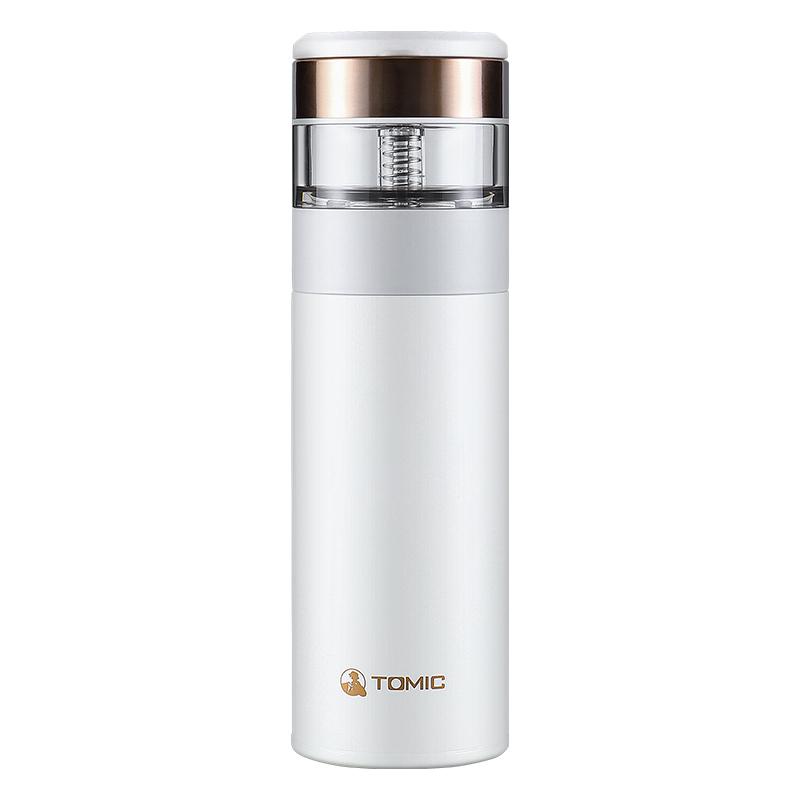 特美刻(TOMIC)茶水分离杯保温杯陶瓷内胆 370ml 钛白 TW6005101