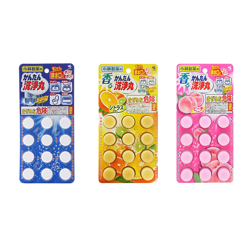 小林制药 排水管清道夫12粒*3(常规装-柑橘香-桃香 ) xl-12-3