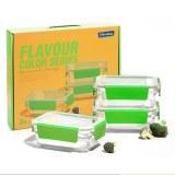 盖朗(Glasslock) 密封环扣玻璃保鲜盒700ml*3 绿色 GL2377